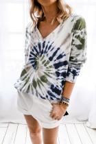 Sweatshirt T-dye şîn V Neck Pullover