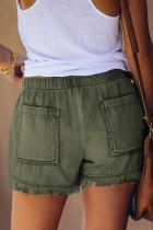 Grön Casual Pocketed Frayed Denim Shorts