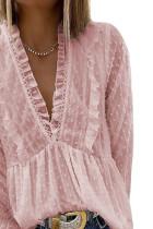 Vaaleanpunainen Swiss Dot pitkä syvä V-aukkoinen laskostettu hihatoppi