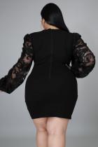Kirasên Puff Floral Puff Neckline Black Surplice Plus Size Dress