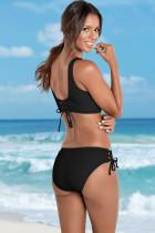 Czarny marszczony komplet bikini w kratkę z wiązaniem i sznurkiem
