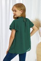 Zielony top z falbankami Little Girl w szwajcarskie kropki