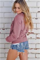 Różowa bluza z kapturem i kieszonką na suwak