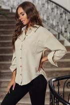 Beżowa sztruksowa koszula z kieszeniami