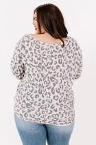 Leopardin pyöreä kaula-aukkoinen pitkähihainen Plus-kokoinen yläosa