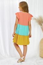 Keltainen ryppyinen hiha Colorblock-lasten mekko