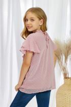 Różowa koszulka w szwajcarskie kropki z falbaną dla dziewczynki