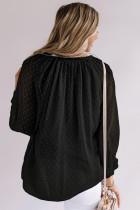 Siyah Gevşek Düğmeli İsviçre Noktalı Gömlek