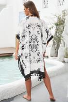 Black Bohemian Print Open Front Loose Kimono Beach Cover up