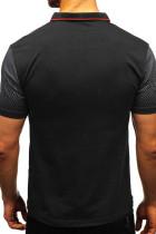 블랙 그라디언트 컬러 반팔 헨리 남성 티셔츠