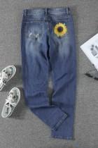 Leopard Patchwork Sunflower Print ahdistuneet korkeavyötäröiset farkut