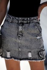 Svart Mini-skjørt med høy midje og denim med lomme