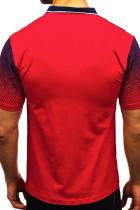 레드 그라디언트 컬러 반팔 헨리 남성 티셔츠