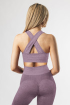 Purppura Criss Cross -rintaliivit ja korkeavyötäröiset leggingsit