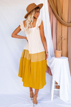 Gul högklassig färgblock Midi-klänning med fyrkantig krage