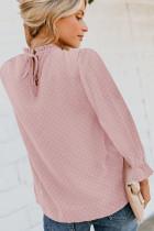 Vaaleanpunainen Swiss Dot Smocked pitkähihainen paita
