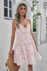 Spagetti Askılı V Yaka Büzgülü Salıncak Çiçekli Elbise