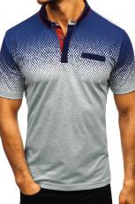 Harmaa Gradient Color Lyhythihainen Henley T-paita