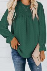 Vihreä Swiss Dot Smocked pitkähihainen paita