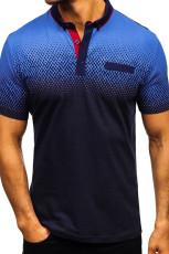 다크 블루 그라데이션 컬러 반팔 헨리 남성 티셔츠