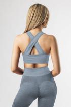 Blauer Criss Cross-BH und Leggings mit hoher Taille Sportbekleidung