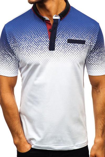 Pánské bílé tričko s přechodem Henley z bílé barvy