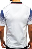Valkoinen kaltevuusväri Lyhythihainen Henley T-paita