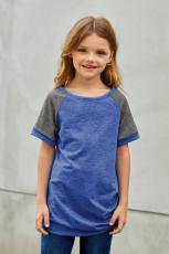 Tee Bi Zarokên Kirasê Sky Blue Raglan bi Bişkojên Side