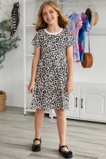 Pikkutyttöjen lyhythihainen leopardikuvioinen minimekko