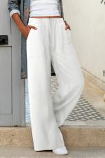 Bílé khaki elastické pasové kapsové široké kalhoty