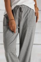 Grey Khaki Loose Drawstring Wantist Knit Pants with pockets