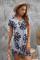 Szara sukienka mini z wycięciem w liście palmowe
