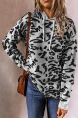 Sweatshirt Hooded Milane Dirêj Leopard Grey