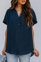 Mavi Yakalı Yüksek Düşük Etekleri Drapeli Kısa Kollu Bluz