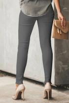 Šedé hladké knoflíky s vysokým pasem, ošlehané oříznuté džínové džíny