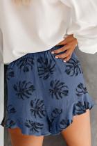 Mavi Palmiye Yapraklı Cepli Elastik Bel Şort Baskılı