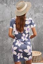 Šedé květinové potištěné vyhloubené twistové mini šaty
