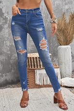 شکاف های شلوار جین کمر بلند توخالی