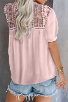 Růžové krajkové háčkované tričko s krátkým rukávem s krajkovým výstřihem
