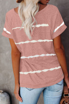 Pink Stripe Print T-shirt Girav