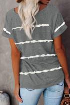 Harmaa raidallinen printti löysä T-paita