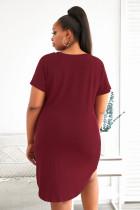 Plus velikost LET ME SLEEP Grafický tisk Červené noční oblečení Mini Dress
