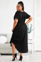 Černé Maxi šaty s výstřihem do V s výstřihem do V a krátkými rukávy