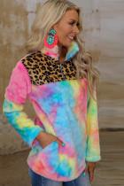 Sweatshirt Fleece Tie-dye Pir rengîn bi Leopard Splicing