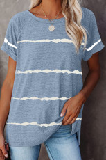 Mavi Çizgili Baskılı Gevşek Tişört