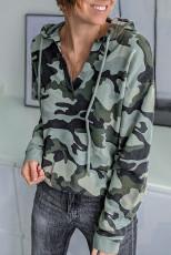 Drawstring Camouflage V Neck Hoodie