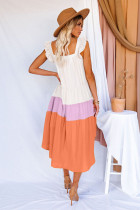 Çok Renkli Yüksek Düşük Katmanlı Renk Bloklu Kare Yaka Midi Elbise