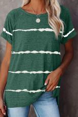 Yeşil Çizgili Baskılı Gevşek Tişört