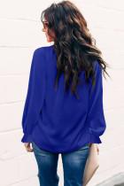Bluzê Çêlikê Qirika Qirikê Mock Mocke Blue