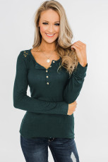 Lace Green Back Buttoned Henley Top